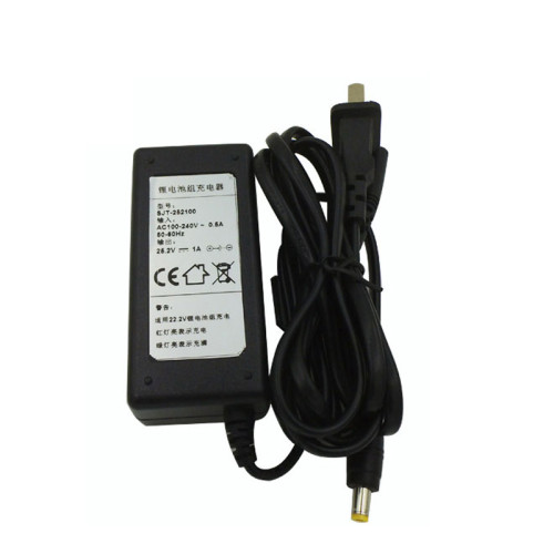 Lithium battery 24v ac power adapter 100v-240v dc 25.2v 1a made in Dongguan