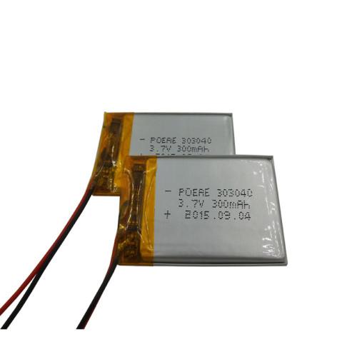 303040 rechargeable 3.7v ultra thin battery lipo 300mah