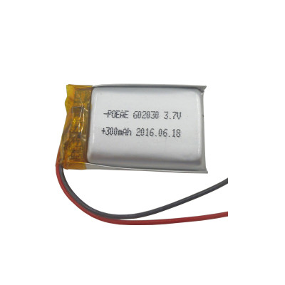 Small rechargeable 602030 li-polymer battery 3.7v with 300mah