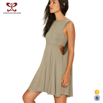 Summer Fashion Design Sleeveless Off-Shoulder 100% Cotton Breathable Dress For Women
