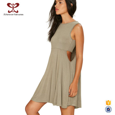 Summer Fashion Design Sleeveless Off-Shoulder 100% Cotton Breathable Dress For Women