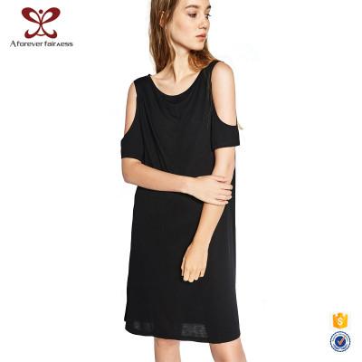 Summer Fashion New Design Girls' Black Off-Shoulder Chiffon Dress For Women