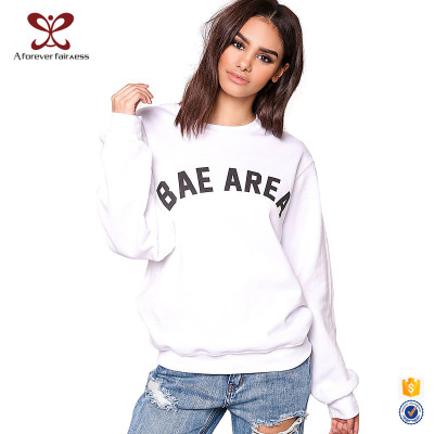 New Style Women Fashion Long Sleeve Letter Printing 100% Cotton Fabric White Color Hoodies