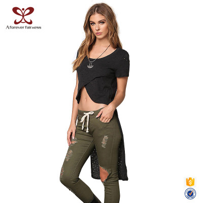 Women Long Coat-Tails Design Short Sleeve Midriff-Baring Openowrk T-Shirt,Latest Design Shirt For Ladies
