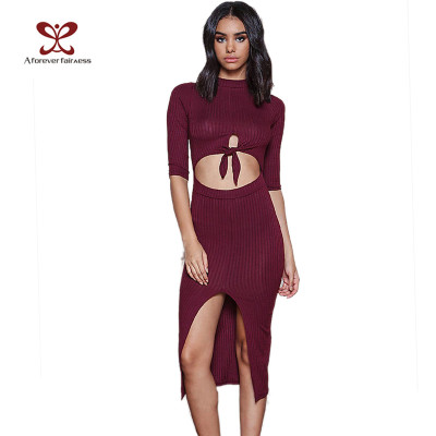 Women One Piece Slim Fit Bodycon Midriff-Baring Design Knitting Dress For Ladies China