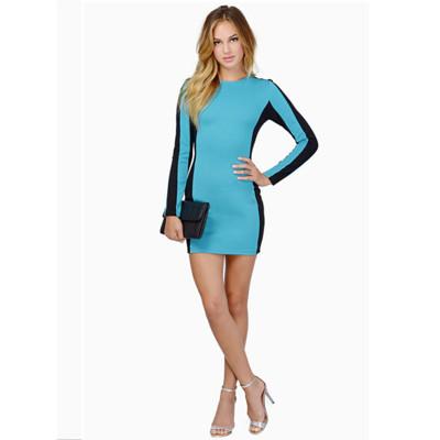 Women O-Neck Long Sleeve One-Piece Bodycon Dress New Design Ladies Slim Fit Elastic Dress