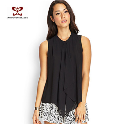 Fashion Casual Openwork Blouse Fold Chiffon Black Sleeveless Off-Shoulder Design Blouse
