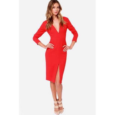 Sexy Girl Deep V-Neck Long Sleeve Tall Waist Dress Party Wear Dress Bodycon Evening Dress