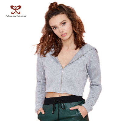 Fashion Sportswear Long Sleeve Pullover Gray Hoodies for Women China