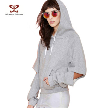 Hip Hop stylish cut out Sleeve Hoodies For Women 100%Cotton