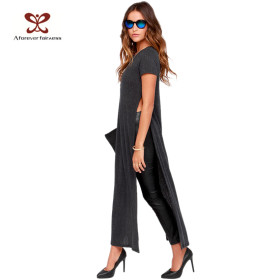 Fashion Long Causal Tshirt For Women Grey Colour Softextile Custom T Shirt