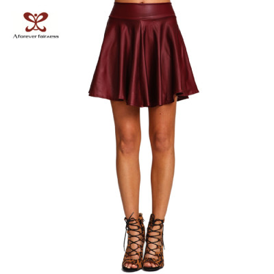 Latest Model Skirt A Pattern Red Colour Women Leather Sexy Girl Mini Skirt