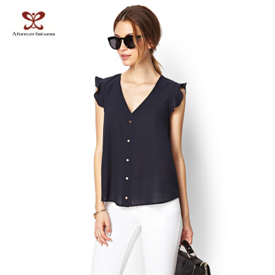 Fashion Deep Blue V-Neck Custom Blank T-shirt for Women