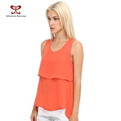 Latest Design Orange Chiffon Custom Tank Top Sexy Fitness Tank Top in China