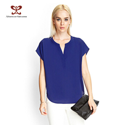 New Design Women Blue Blank Custom T shirt