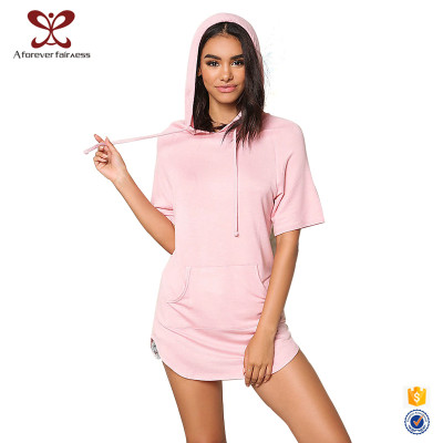 New Fashion Pure Color Short Sleeve Women Hoodies With Hood Design