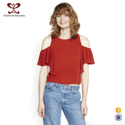 Off The Shoulder Short Sleeve Women T-Shirt New Design Red T-Shirt For Fashion Ladies
