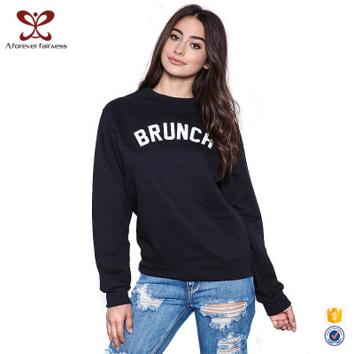 Fashion Women Long Sleeve O-Neck Hoodies for Ladies