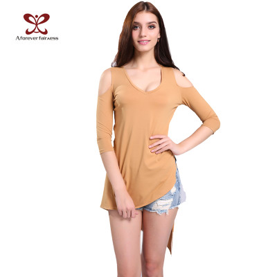 New Fashion Sexy Bodycon Pure Color Off Shoulder Women Half Sleeve Cotton T Shirt