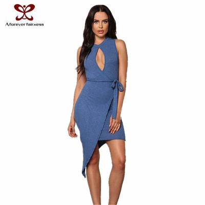 Fashion Cotton Bodycon Dress New Design Ladies Blue Color Sexy Fashion Dress