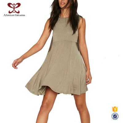 AFF Engagement Dress Design 95% Cotton 5% Spandex Casual Loose Sleeveless Short Dress