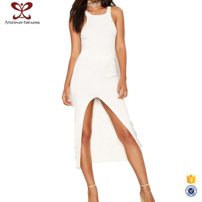 AFF Sexy Pictures Of Girls Without Dress Long Sleeveless White Maxi Knitted Cotton