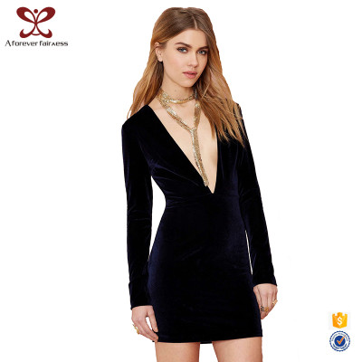 A_FOREVER_FAIRNESS Fashion V Neck Long Sleeve Sexy Ladies Bodycon Dress Sexy Velvet Night Dress For Women