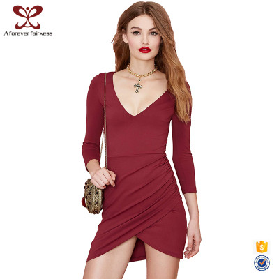 Lady Fashion Dress For Women Long Sleeve V Neck Bodycon Latest Design Dress