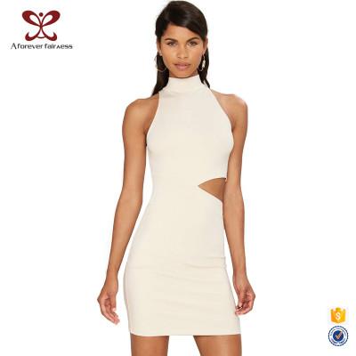 AFF Women Hollow In Waist Sexy Sleeveless Off-Shoulder Dress Summer Maxi Dress