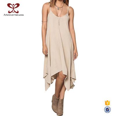 AFF Daily Wear Dress Women Soft Cotton Khaki Loose Summer Dress 1147