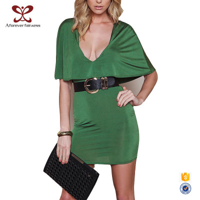 AFF Latest Design Sexy Dreep V Neck Green  Office Dress For Ladies 2016