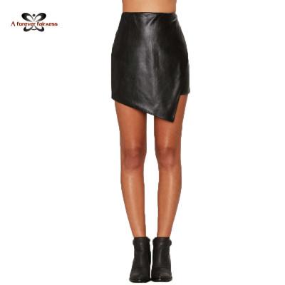AFF New Model Sexy Women Bodycon Black Pu Leather Skirt Girl Mini Skirt Ladies Short Skirt Designs