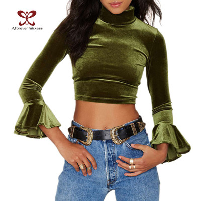 AFF New Model Tees For Ladies Women Long Sleeve O-Neck Tees Sexy Fitness Polo Green Tees Women