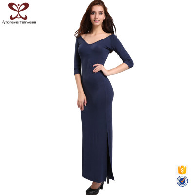 AFF Latest Net Dress Designs Pure Color V Neck 7th Sleeve Woman Long Dress Bamboo Fiber Sexy Maxi Dress For Fashion Lady