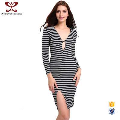 AFF Autumn New Model Girl Dress Pure Color Stripe V Neck Slit Long Sleeve Dress Bamboo Fiber Plus Size Dress For Sexy Lady