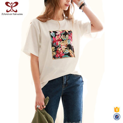 2017 Rounded Hem Fashion Women 100% Cotton Wholesale Custom Printing White T Shirt