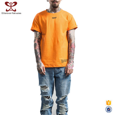 A Forever Fairness 2017 New Design Orange Printed Mens Plus Size T Shirt