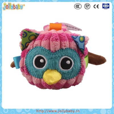 Jollybaby Brand Soft Stuffed Owl Designed Hand Rattle Toy With Safty Mirror