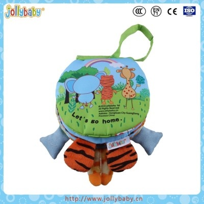 Jollybaby Round Shaped Lovely Cartoon Animals Fabric Baby Soft Cloth Book With Handle