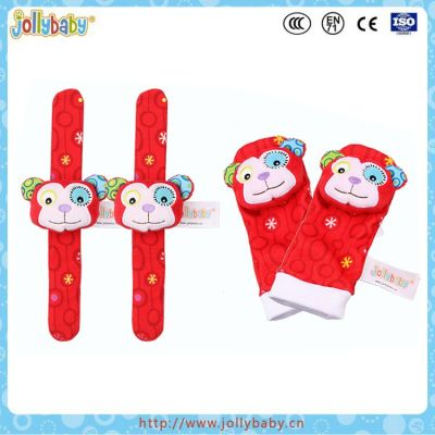 Baby monkey animals wrist rattle and foot finder