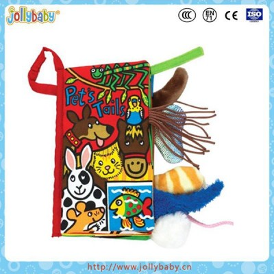 Baby cloth book,baby educational cloth book,colorful fabric book with pet animal tails