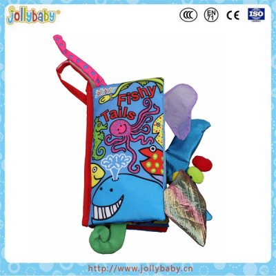 Baby sea animals tails soft Jollybaby cloth book educational toy
