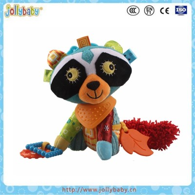 Jollybaby wholesale animals plush toy with soft baby teether