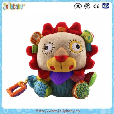 Jollybaby wholesale lion stuffed plush toy with soft baby teether