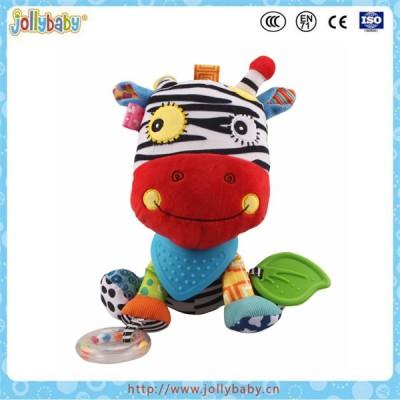 Jollybaby wholesale donkey animal stuffed plush toy with soft baby teether
