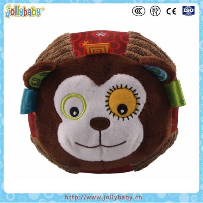 Animals soft plush stuffed ball with bell rattle ball baby educational toys