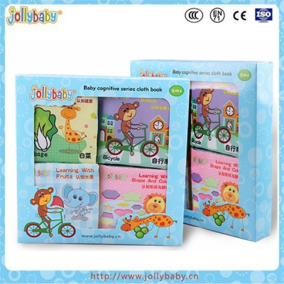 Jollybaby factory custom educational toy baby cloth book baby soft book