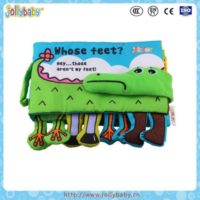 Crocodile cloth book baby educational toy with animal feet
