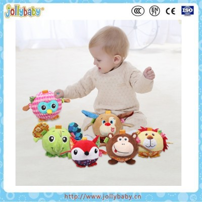 Sozzy animal shape plush ball toy with ring bell inside