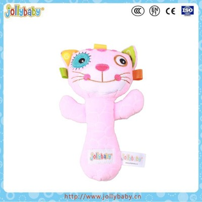 Jollybaby new design pink cat plush hand rattle stick best baby toys